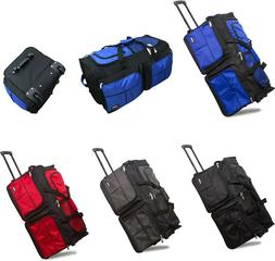 "20"" / 28"" Polyester Rolling Duffel Bag Wheeled Luggage Trave"