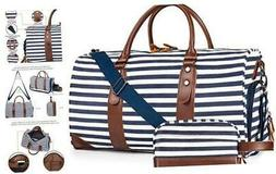 """21"""" Weekender Bags Canvas Leather Duffle Bag Overnight Trave"""