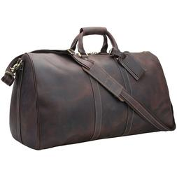 """22"""" Real Leather Overnight Luggage Suitacase Duffel Gym Bag"""
