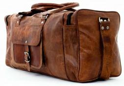 """24"""" Genuine Leather Large Duffle Travel Gym Weekend Overnigh"""