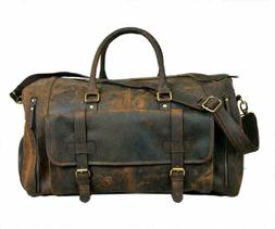 24 Inch Genuine Leather Duffel Travel Overnight Weekend Leat