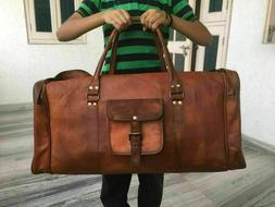"""25"""" Vintage New Large  Men Real Leather Tote Luggage S Trave"""