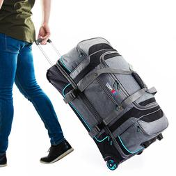"30"" Large Drop Bottom Wheeled Duffel Bag Travel Gear Suitcas"
