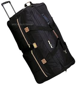 "36"" Black Polyester Rolling Wheeled Duffel bag Travel Suitca"