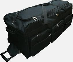 "42"" Black 1200D Polyester Jumbo Rolling Wheeled Duffel Bag /"
