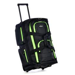 Olympia 8 Pocket Rolling Duffel Bag, Black/Lime