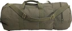 Cotton Canvas Large Shoulder Duffle Bag, Olive Drab Military