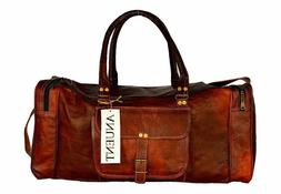 "NEW Men genuine goat leather 24"" brown duffel travel gym wee"