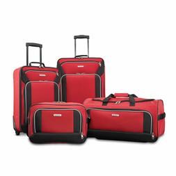 Red Luggage Set 4 Piece Rolling In Line Skate Wheels Suitcas