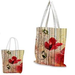 Blooming Poppy fashion shopping tote bag Blossoms Baroque Re