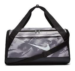 NIKE BRASILIA DUFFEL BAG MED GREY BLACK WHITE BA5977 064  US