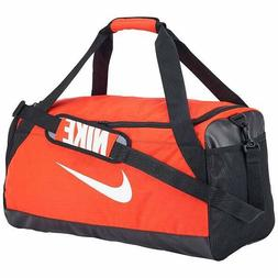 NIKE Brasilia Duffel Sports Gym Bag, Medium - Orange/Black,