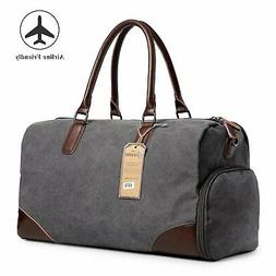 Canvas Duffel Leather Carry On Bag Weekend Overnight Tote Ba