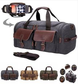 Canvas Duffle Large Genuine Leather Weekend Overnight Men Wo