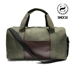 Scione Canvas Simple Travel Luggage Handbags Solid Durable <