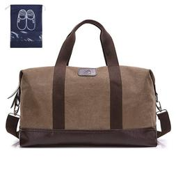 Classic Weekender Overnight Duffel Bag Canvas Leather Carry