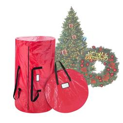 Elf Stor Deluxe Red Christmas Tree Storage Bag & 30 Inch Wre