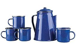 Stansport 8 Cup Enamel Percolator with Four Enamel Mugs, 12-