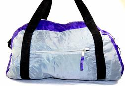 Folding Nylon Duffel Bag ~ Gym/Travel, Shoulder Strap, Purpl