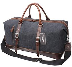 genuine leather trim tote duffel