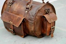 Goat Leather Brown Gym Duffel Travel Luggage Genuine Men Bag