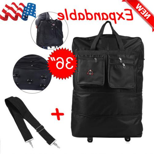 """40"""" Rolling Wheeled Duffel Bag Spinner Suitcase Spinning Lug"""