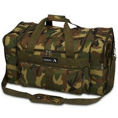 Everest Woodland Camo Duffel Carry Travel Bag - Large