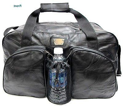 Men's Patch Leather Gym Bag Travel Duffel/Weekender w/Water