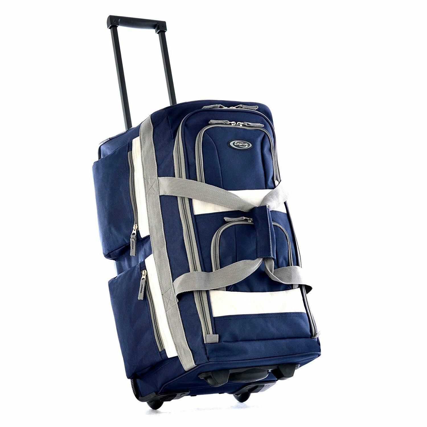 26 Inch Navy Blue Duffel Rolling Luggage Suitcase Bag Olympi