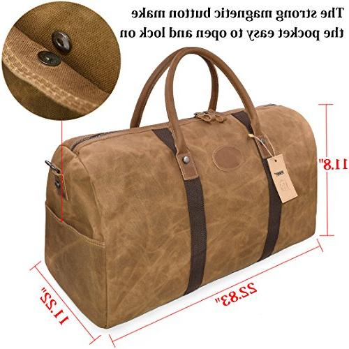 Travel Duffel Canvas Overnight Bag Weekend Oversized Brown