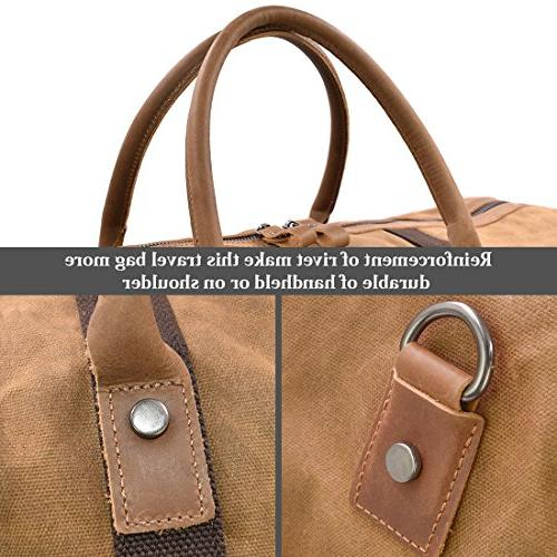Travel Bag Canvas Overnight Weekend Oversized Brown
