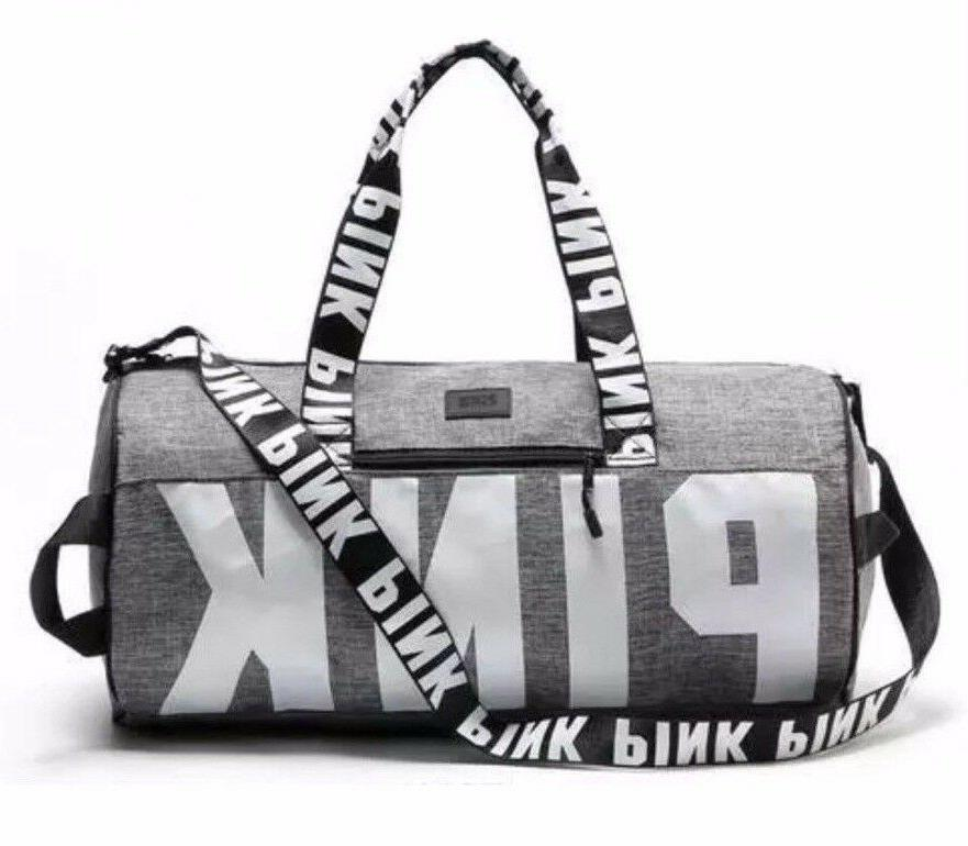 Victoria's Secret Love Pink Duffel / Gym Bag - Grey - Free S