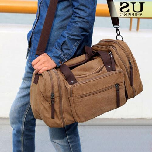 Canvas Travel Tote Luggage Large Men/'s Weekend Gym Shoulder Duffle Bag US New AS