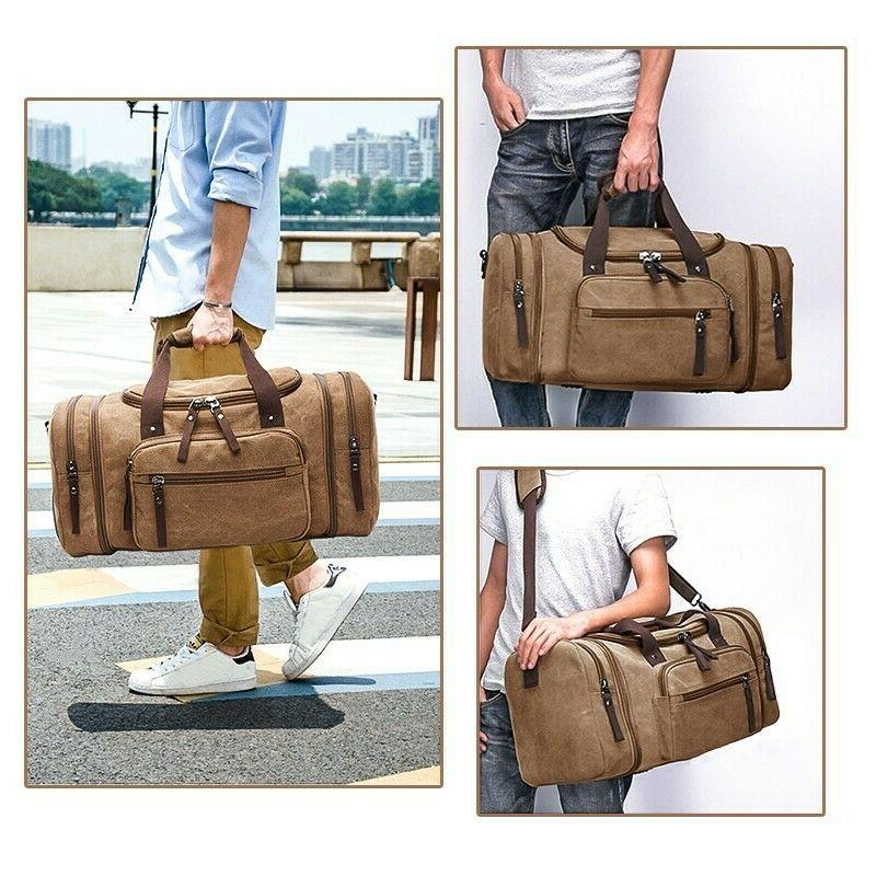 Canvas Tote Luggage Large Men's Shoulder Duffle Bag Strap