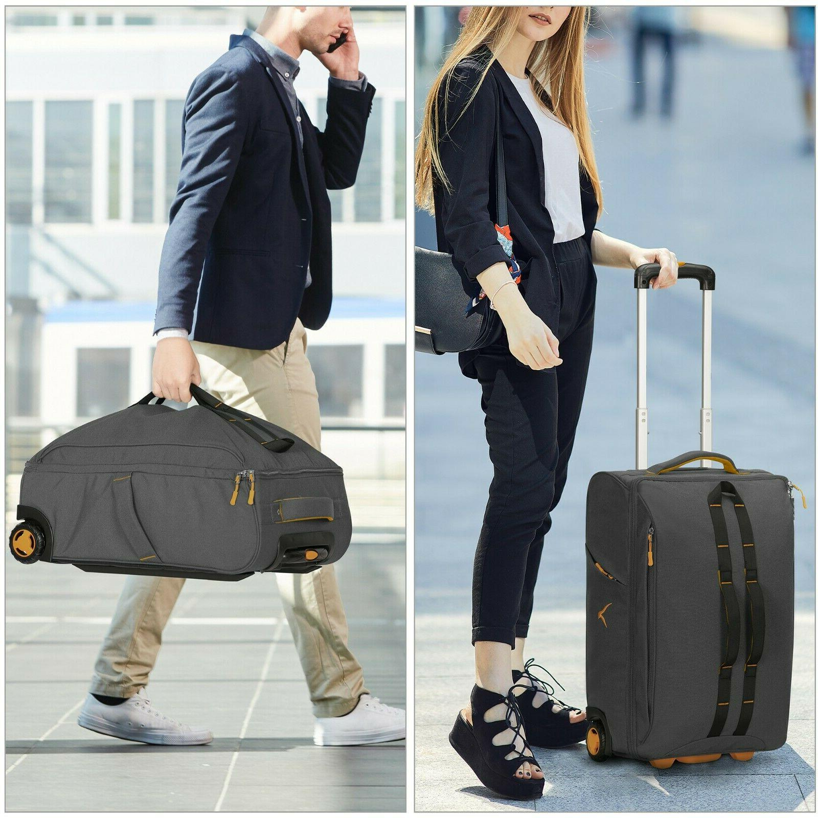 Carry Rolling Wheeled Checked Suitcase &26''