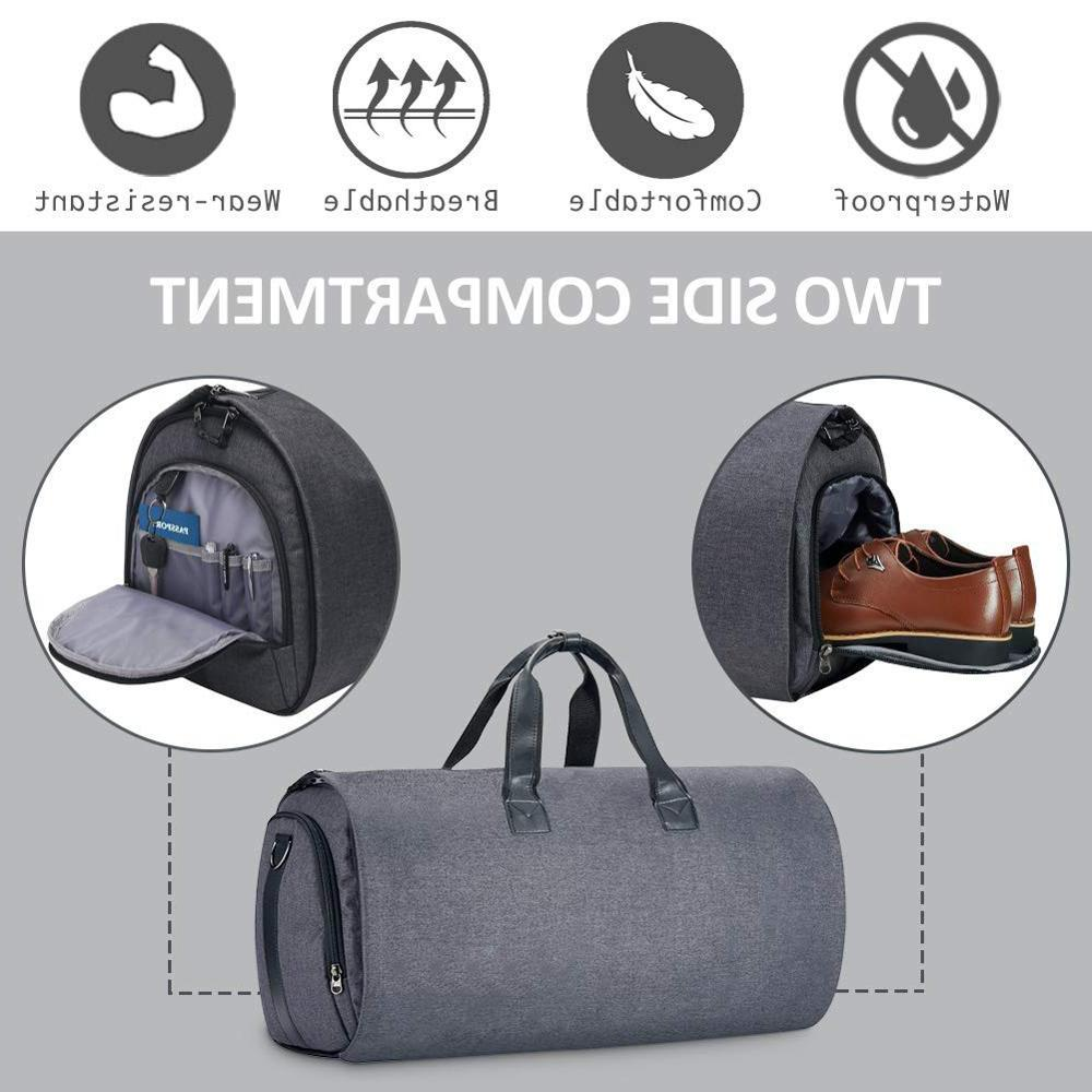 Convertible Suit <font><b>Duffel</b></font> 2 in 1 Weekender Garment <font><b>Bag</b></font> With Shoes Compartment