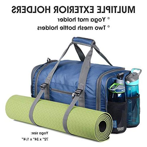 Foldable Packable Travel with Extra 2 Wet Shoes Duffel Luggage, Sports &