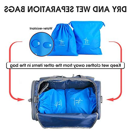 Foldable Bag Travel Duffle with 2 Wet Bags Shoes Super Duffel & Yoga by WANDF