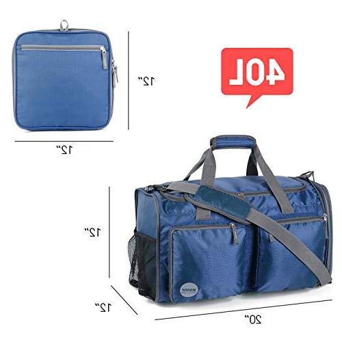 Foldable Gym Packable 2 Wet Shoes Compartment, Lightweight Duffel for & by