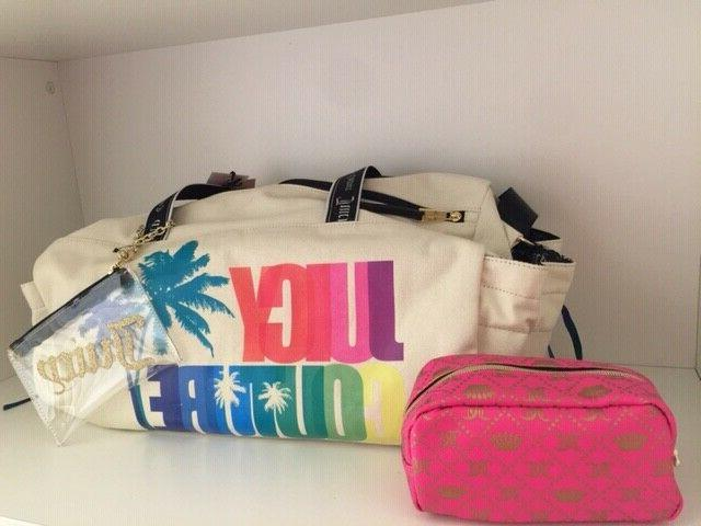 ivory pink blue multicolored duffle bag