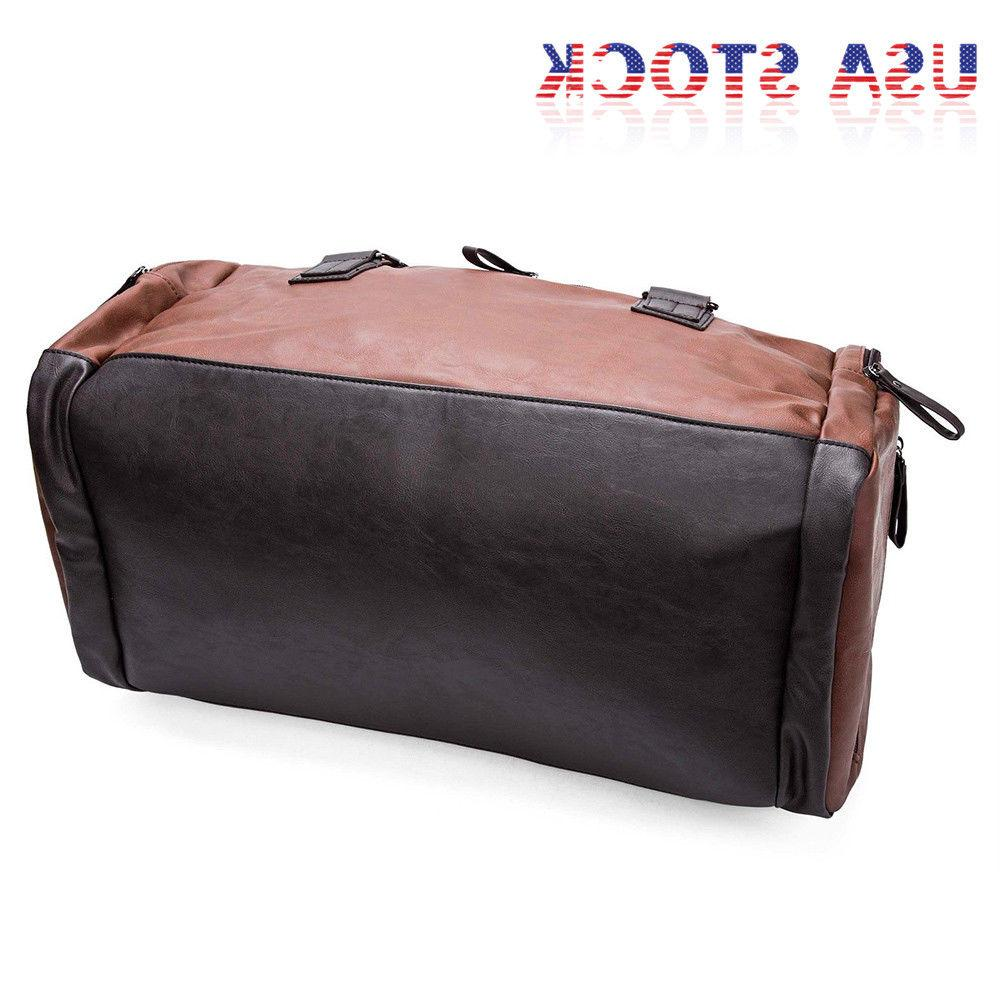Large Leather Handbag Duffel Gym Shoulder Overnight