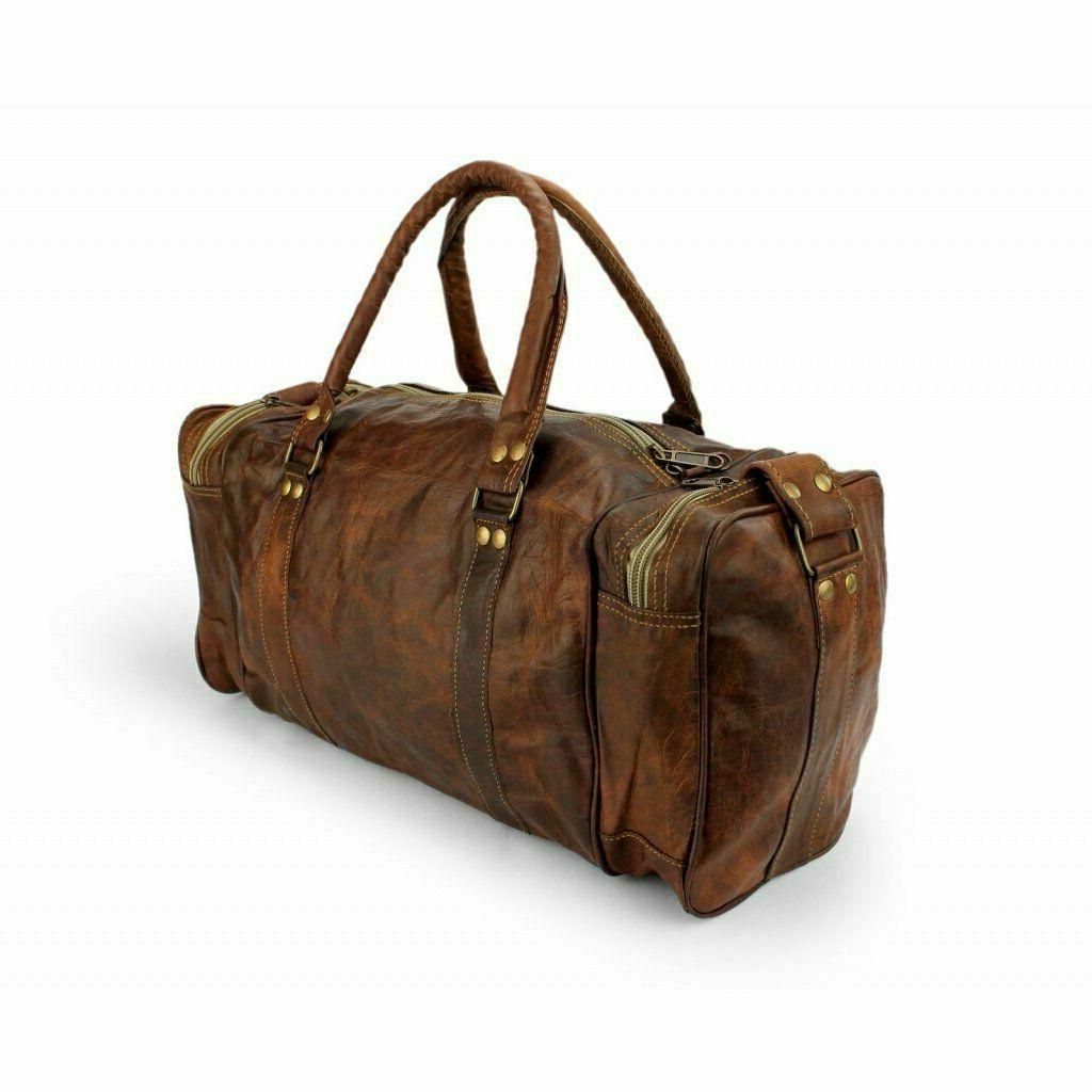 New Men's Bag Travel Overnight Weekend Leather