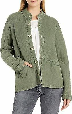 Lucky Brand Women's Long Sleeve Button Up Quilted Jacket