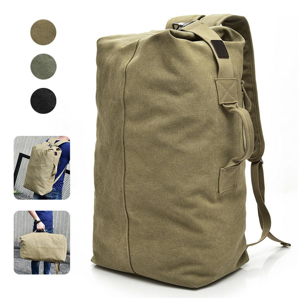 Military Duffle Bag Double Strap Canvas Backpack Army Travel