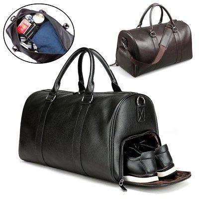 men s leather gym duffel shoulder bag