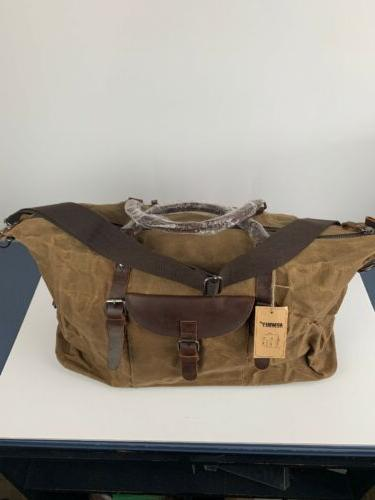 mens duffle bag nwt brown canvas leather