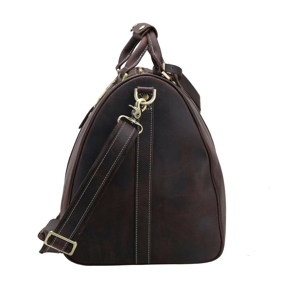 Mens Real Leather Travel Duffle Bag TOTE