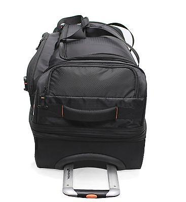 BLACK LARGE DROP WHEELED DUFFEL