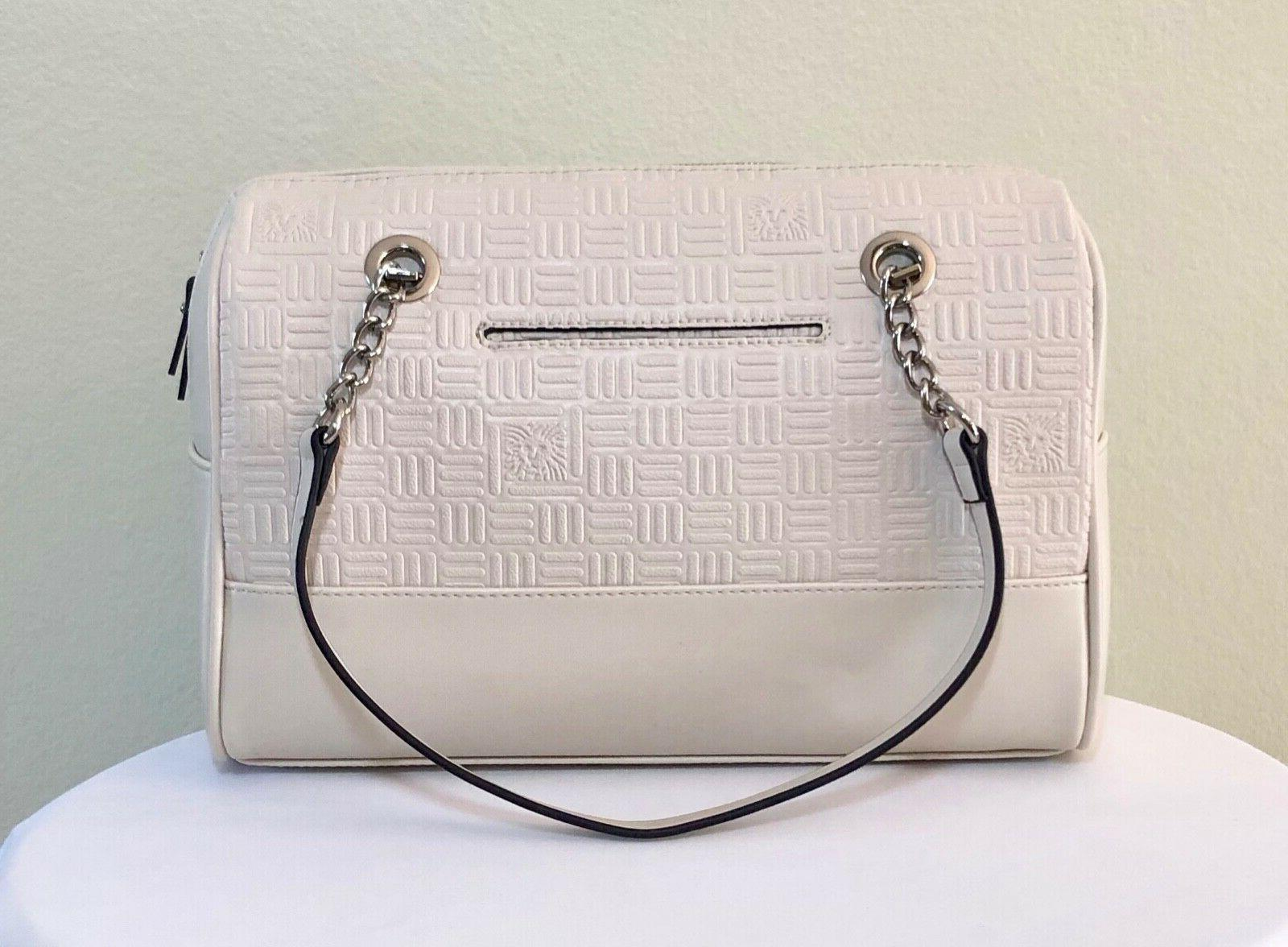 NEW Handbag Embossed Chain Ivory/Wht Purse Shoulder