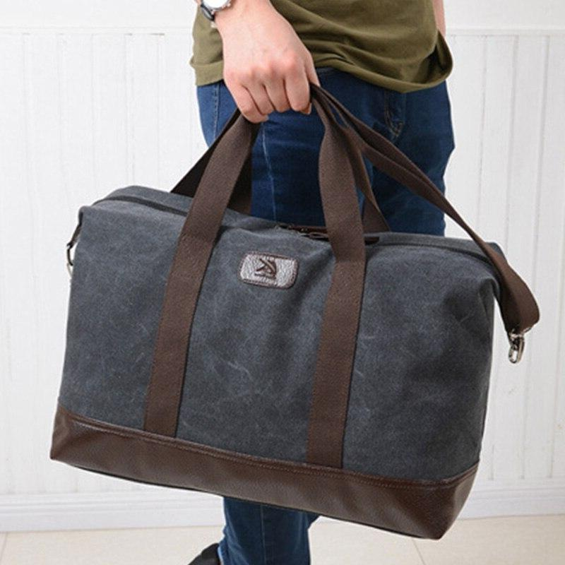 New Casual Capacity Men Fitness <font><b>Duffel</b></font> <font><b>Bag</b></font> Outdoor <font><b>Bag</b></font> Women Canvas Handbag Khaki/Black